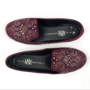 ROCK & REPUBLIC Burgundy Sequin Slip-On Shoe Flats